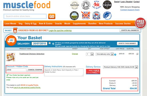 musclefood discount code screen